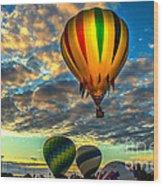 Hot Air Balloon Lift Off Wood Print