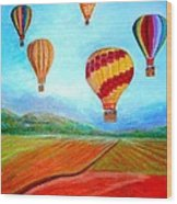 Hot Air Balloon Mural  Wood Print by Anais DelaVega