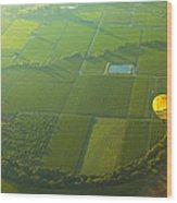 Hot Air Balloon Over Napa Valley California Wood Print