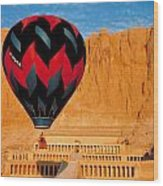 Hot Air Balloon Over Thebes Temple Wood Print
