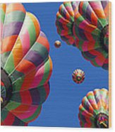 Hot Air Balloon Panoramic Wood Print by Edward Fielding