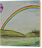 Hot Air Balloon Rainbow Wood Print