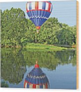Hot Air Balloon Reflection Wood Print