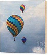 Hot Air Balloon Trio Wood Print