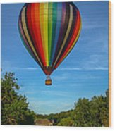 Hot Air Balloon Woodstock Vermont Wood Print by Edward Fielding