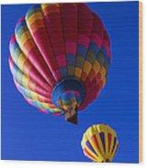 Hot Air Ballooning Together Wood Print