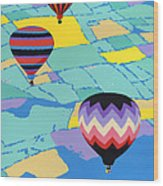 Abstract Hot Air Balloons - Ballooning - Pop Art Nouveau Retro Landscape - 1980s Decorative Stylized Wood Print