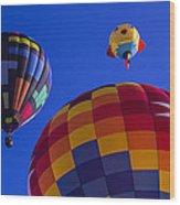 Hot Air Balloons Launch Wood Print