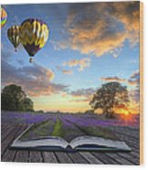 Hot Air Balloons Lavender Landscape Magic Book Pages Wood Print