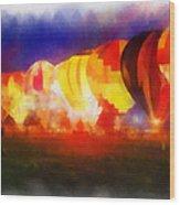 Hot Air Balloons Night Glow Photo Art 01 Wood Print
