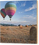Hot Air Balloons Over Hay Bales Sunset Landscape Wood Print