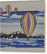 Hot Air Balloons Over Lake Tahoe Wood Print