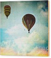 Hot Air Baloons In Blazing Sky Wood Print