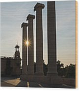 Hot Barcelona Afternoon - Magnificent Columns And Brilliant Sun Flares Wood Print
