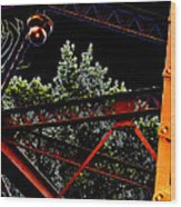 Hot Bridge At Night Wood Print