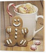 Hot Chocolate Toasted Marshmallows And A Gingerbread Cookie Wood Print