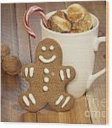 Hot Cocoa And Gingerbread Cookie Wood Print by Juli Scalzi