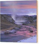 Hot Creek At Sunset Sierra Nevada Wood Print