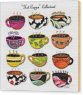 Hot Cuppa Whimsical Colorful Coffee Cup Designs By Romi Wood Print