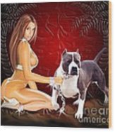 Hot Girl With Pit Bull Wood Print