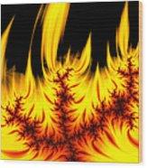 Hot Orange And Yellow Fractal Fire Wood Print