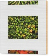 Hot Pepper Collage Wood Print