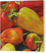 Hot Peppers Wood Print