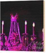 Hot Pink Chandelier Wood Print