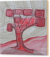 Hot Pink Geom Tree Wood Print