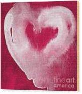 Hot Pink Heart Wood Print by Linda Woods
