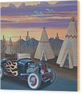 Hot Rod At The Wigwams Wood Print