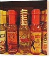 Hot Sauce Display Shelf Two Wood Print