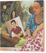 Hot Ticket Frida Kahlo Meta Portrait Wood Print