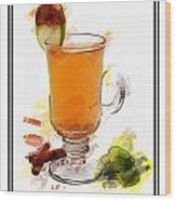 Hot Toddy Cocktail Marker Sketch Wood Print