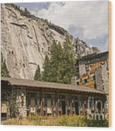 Hotel Ahwahnee Wood Print