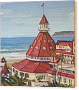Hotel Del Coronado From Above Wood Print