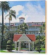 Hotel Del Courtyard Wood Print