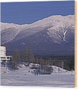 Hotel Near Snow Covered Mountains, Mt Wood Print