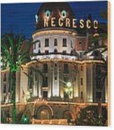 Hotel Negresco By Night Wood Print