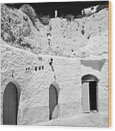 hotel room cave accomodation Sidi Driss Hotel underground at Matmata Tunisia scene of Star Wars films Wood Print