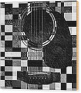 Hour Glass Guitar Random Bw Squares Wood Print