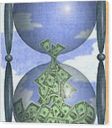 Hourglass Dollars Wood Print