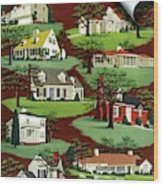 House & Garden Cover Illustration Of 9 Houses Wood Print