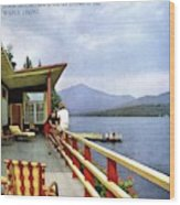 House & Garden Cover Of Women Sitting On The Deck Wood Print