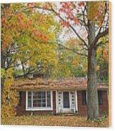 House Among The Crimson And Green Wood Print