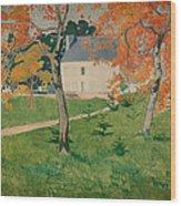 House Among Trees Wood Print