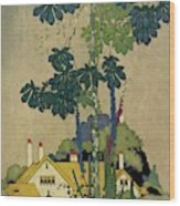 House And Garden Cover Wood Print