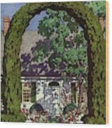 House And Garden Small House Number Wood Print