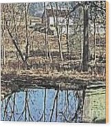 House And The Reflecting Pool Wood Print