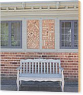 House Brick Exterior With Wood Bench Wood Print